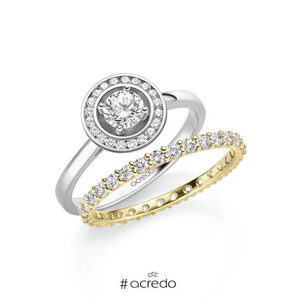 Ring-Set in Weißgold 585 mit 0,4 ct. + zus. 0,78 ct. Brillant tw, si von acredo