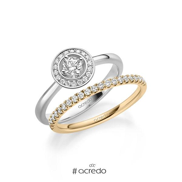 Ring-Set in Weißgold 585 mit zus. 0,51 ct. Brillant tw, si von acredo