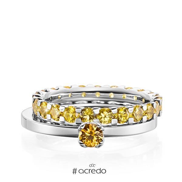 Ring-Set in Weißgold 585 mit zus. 2,32 ct. Brillant Saphir Gelb (A 8) von acredo