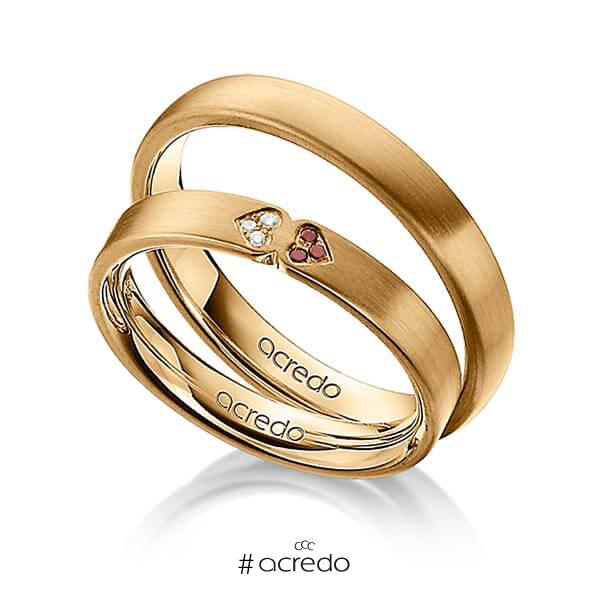 Trauringe Roségold 585 mit 0,03 ct. Cherry Red & tw, si