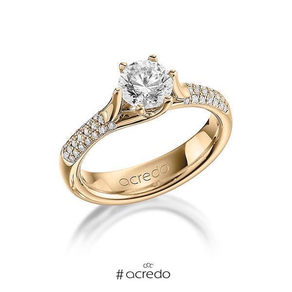 Verlobungsring Diamantring 1,21 ct. G VS & tw, si Roségold 585