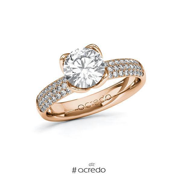 Verlobungsring Diamantring 1,932 ct. G VS & tw, si Rotgold 585