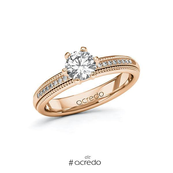 Verlobungsring Diamantring 0,79 ct. G SI & tw, si Rotgold 585
