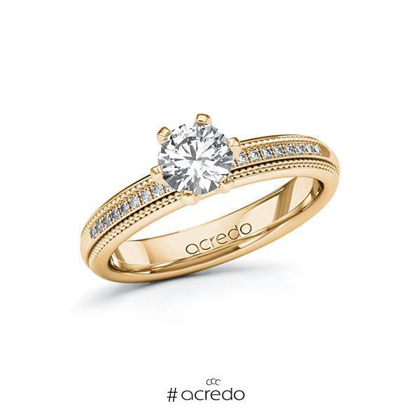 Verlobungsring Diamantring 0,79 ct. G SI & tw, si Roségold 585