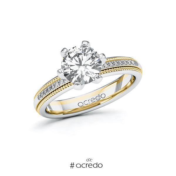 Verlobungsring Diamantring 1,59ct. G SI & tw, si Weißgold 585 Gelbgold 585