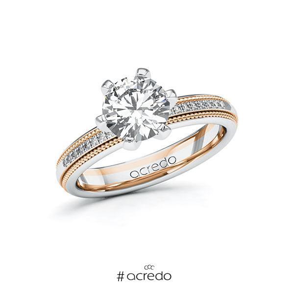 Verlobungsring Diamantring 1,59ct. G SI & tw, si Weißgold 585 Rotgold 585