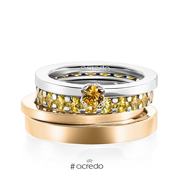 Verlobungsring Diamantring 0,25 ct. Saphir Gelb (A 8) Weißgold 585