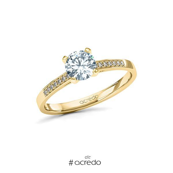 Verlobungsring Diamantring 0,77 ct. G SI & tw, si Gelbgold 585