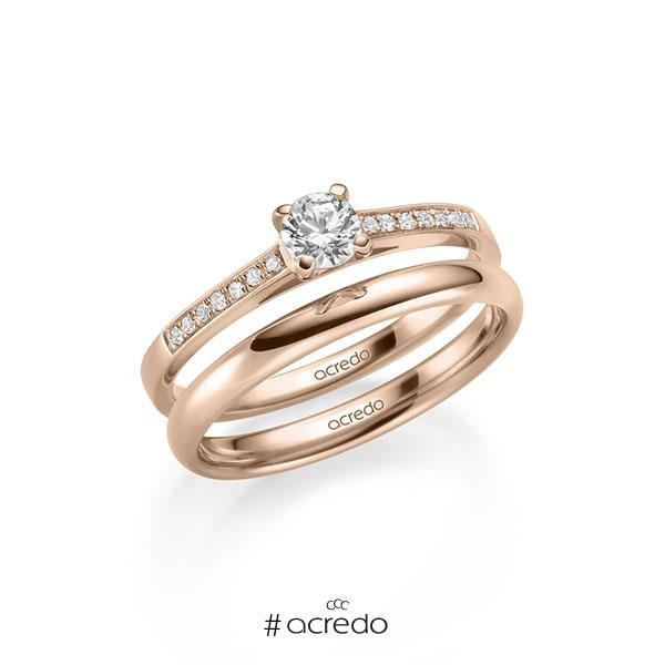 Verlobungsring Diamantring 0,37 ct. G SI & tw, si Rotgold 585