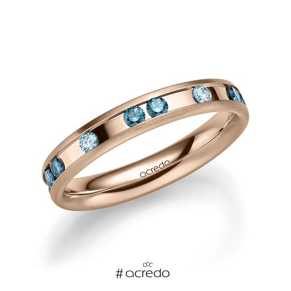 Trauringe Rotgold 585 mit 0,6 ct. Iceblue & Oceanblue