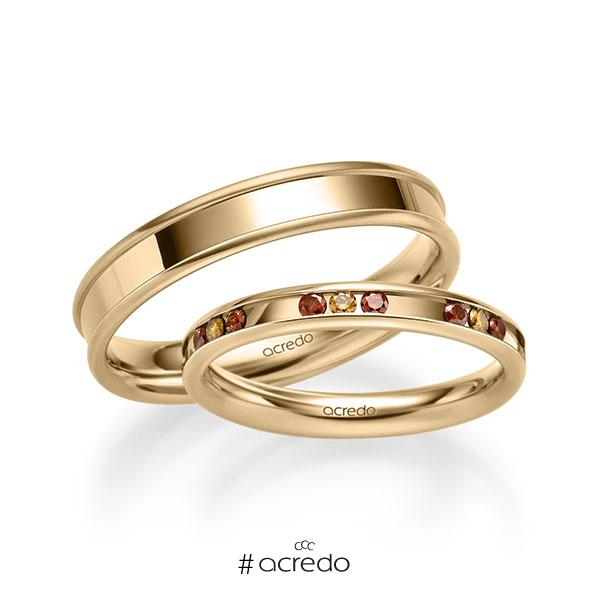 Trauringe Roségold 585 mit 0,42 ct. Cherry Red & Cognac