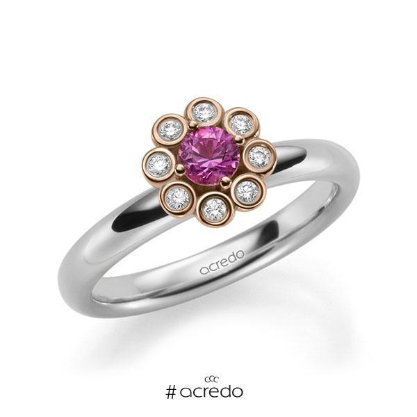Verlobungsring Diamantring 0,37ct. Saphir Pink (A 10) & tw, si Weißgold 585 Rotgold 585