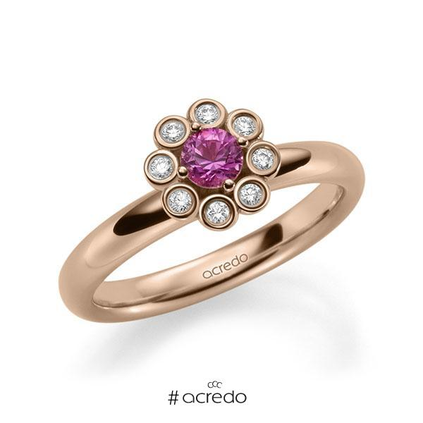 Verlobungsring Diamantring 0,37ct. Saphir Pink (A 10) & tw, si Rotgold 585