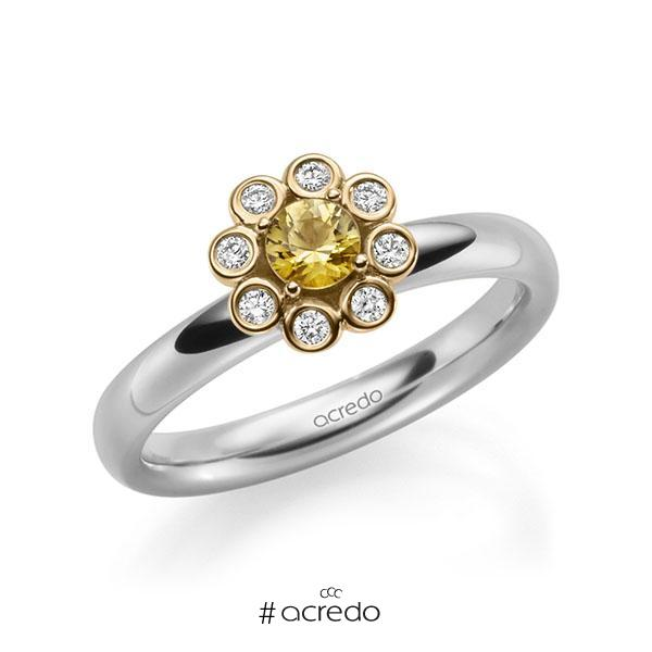 Verlobungsring Diamantring 0,37ct. Saphir Gelb (A 8) & tw, si Weißgold 585 Roségold 585