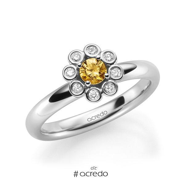 Verlobungsring Diamantring 0,37ct. Saphir Orange (A 12) & tw, si Weißgold 585