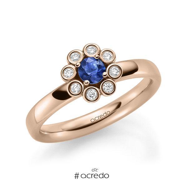 Verlobungsring Diamantring 0,37ct. Saphir Blau (A 10) & tw, si Rotgold 585