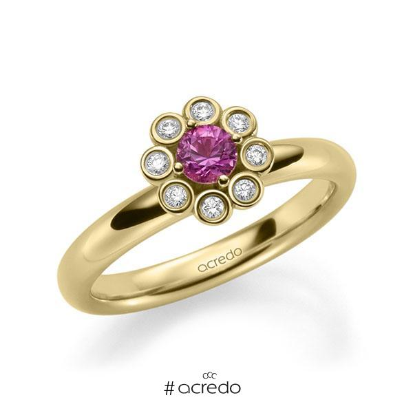 Verlobungsring Diamantring 0,37ct. Saphir Pink (A 10) & tw, si Gelbgold 585