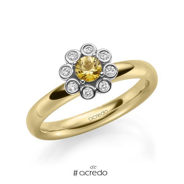 Verlobungsring Diamantring 0,37ct. Saphir Gelb (A 8) & tw, si Gelbgold 585 Weißgold 585