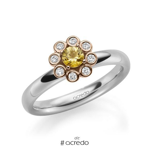 Verlobungsring Diamantring 0,37ct. Saphir Gelb (A 8) & tw, si Weißgold 585 Rotgold 585