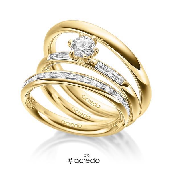 Set in außen Gelbgold 585 , innen Gelbgold 585 halbausgefasst mit 0,5 ct. + zus. 0,75 ct. Baguette-Diamant & Brillant tw, vs tw, si von acredo