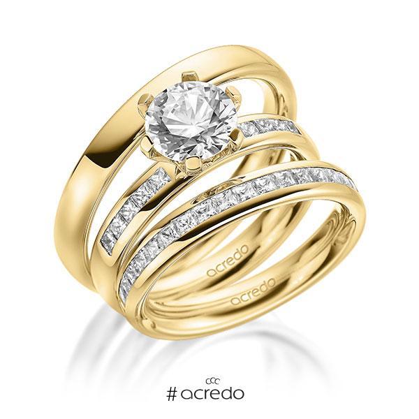 Set in außen Gelbgold 585 , innen Gelbgold 585 halbausgefasst mit 1,5 ct. + zus. 0,87 ct. Prinzess-Diamant & Brillant tw, si tw, vs von acredo