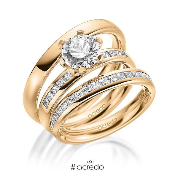 Set in außen Roségold 585 , innen Roségold 585 halbausgefasst mit 1,5 ct. + zus. 0,87 ct. Prinzess-Diamant & Brillant tw, si tw, vs von acredo