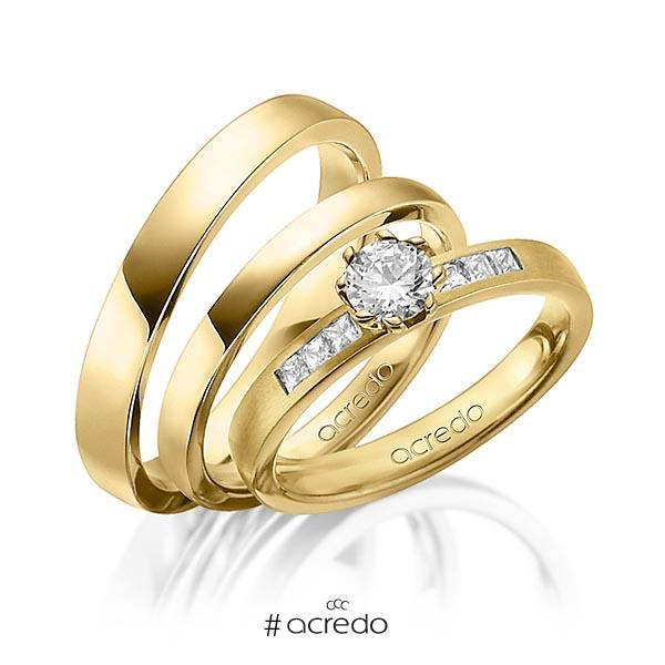 Set in Gelbgold 585 mit 0,4 ct. + zus. 0,18 ct. Brillant & Prinzess-Diamant tw, vs tw, si von acredo