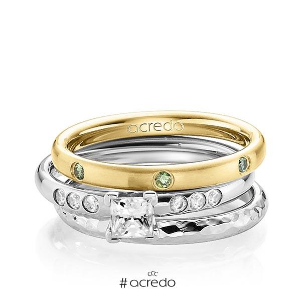 Set in Gelbgold 585 mit 0,4 ct. + zus. 0,26 ct. Brillant & Prinzess-Diamant Apple Green tw, vs tw, si von acredo