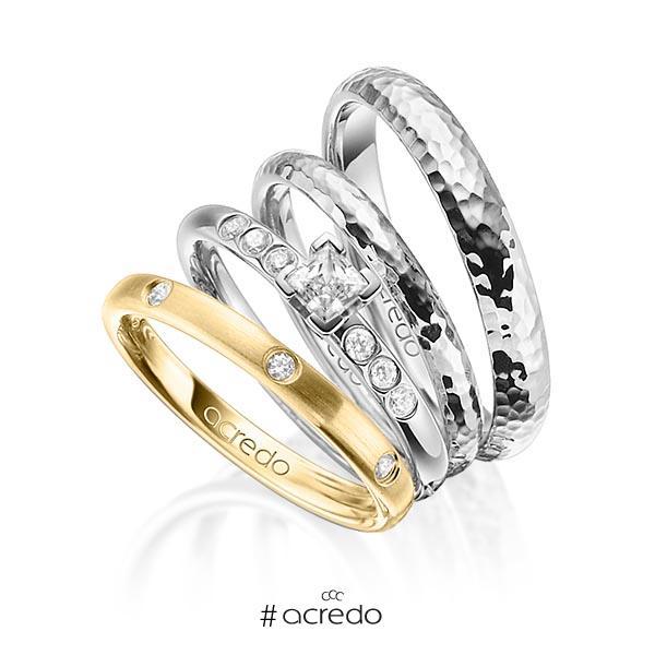Set in Gelbgold 585 mit 0,4 ct. + zus. 0,26 ct. Brillant & Prinzess-Diamant tw, si tw, vs von acredo