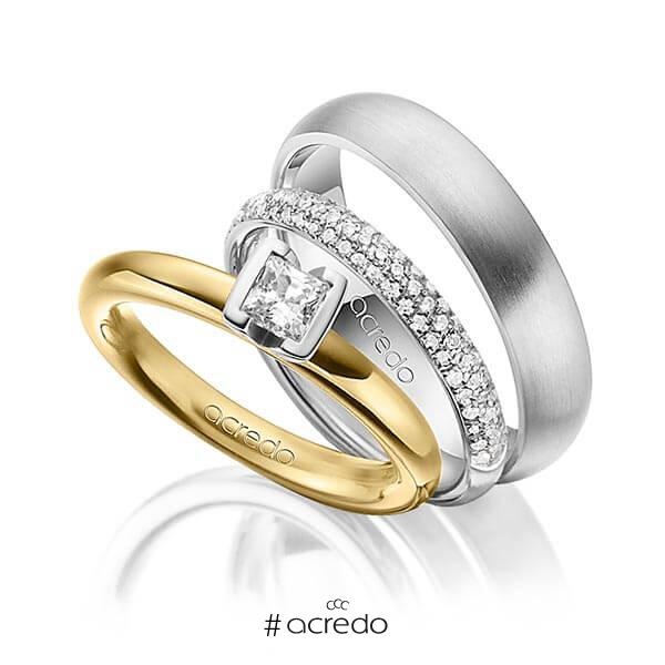 Set in Gelbgold 585 mit 0,4 ct. + zus. 0,38 ct. Prinzess-Diamant & Brillant tw, vs tw, si von acredo