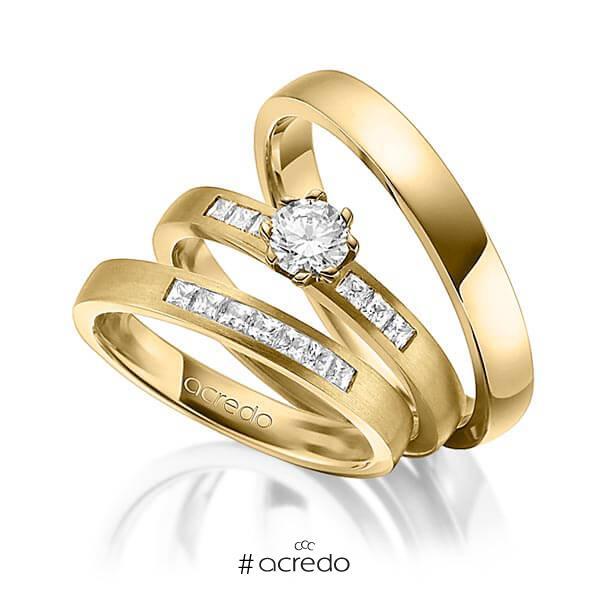 Set in Gelbgold 585 mit 0,4 ct. + zus. 0,39 ct. Prinzess-Diamant & Brillant tw, si tw, vs von acredo