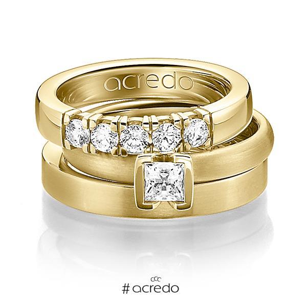 Set in Gelbgold 585 mit 0,4 ct. + zus. 0,3 ct. Brillant & Prinzess-Diamant tw, vs von acredo