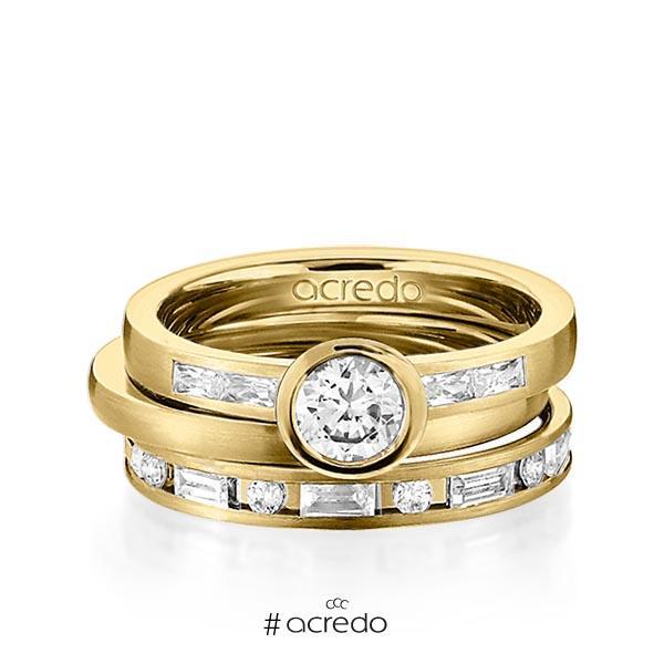 Set in Gelbgold 585 mit 0,5 ct. + zus. 1,005 ct. Baguette-Diamant & Brillant tw, vs tw, si von acredo