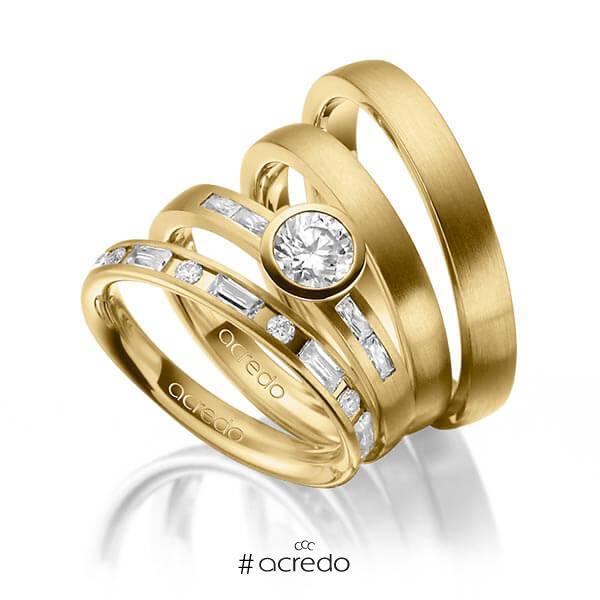 Set in Gelbgold 585 mit 0,5 ct. + zus. 1,005 ct. Brillant & Baguette-Diamant tw, si tw, vs von acredo