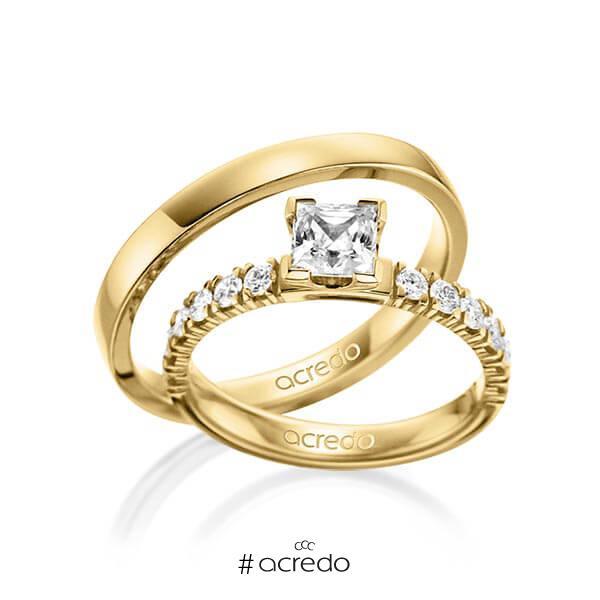 Set in Gelbgold 585 mit 0,7 ct. + zus. 0,48 ct. Prinzess-Diamant tw, vs tw, si von acredo