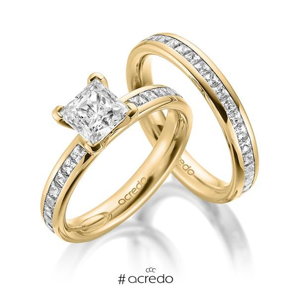 Set in Gelbgold 585 mit 1 ct. + zus. 1,05 ct. Brillant & Prinzess-Diamant tw, vs tw, si von acredo