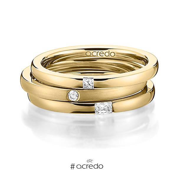 Set in Gelbgold 585 mit zus. 0,125 ct. Prinzess-Diamant & Brillant & Baguette-Diamant tw, si tw, vs von acredo