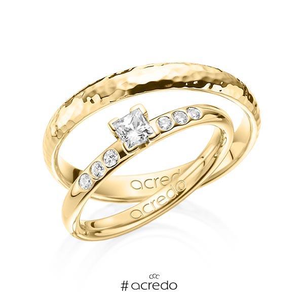 Set in Gelbgold 585 mit zus. 0,32 ct. Prinzess-Diamant tw, vs tw, si von acredo