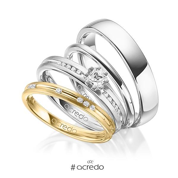 Set in Gelbgold 585 mit zus. 0,47 ct. Brillant & Prinzess-Diamant tw, si tw, vs von acredo