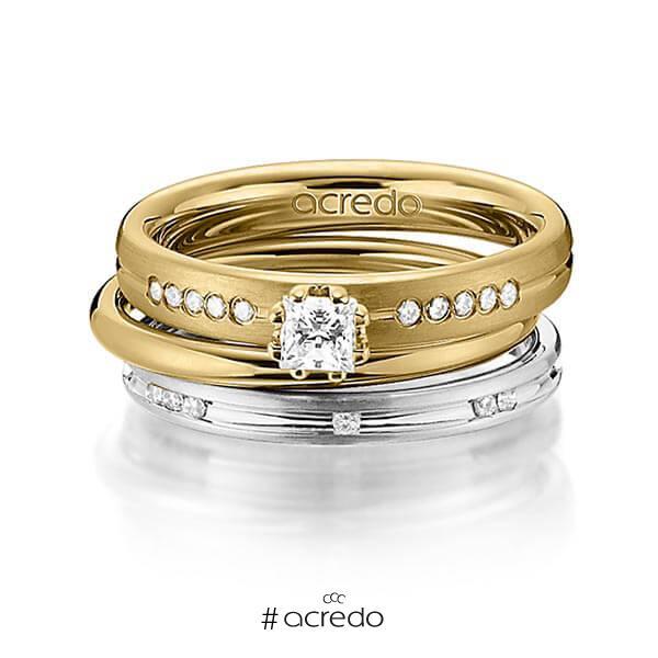 Set in Gelbgold 585 mit zus. 0,47 ct. Prinzess-Diamant & Brillant tw, si von acredo