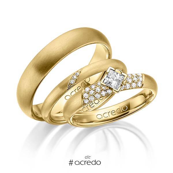 Set in Gelbgold 585 mit zus. 0,535 ct. Brillant & Prinzess-Diamant tw, si von acredo