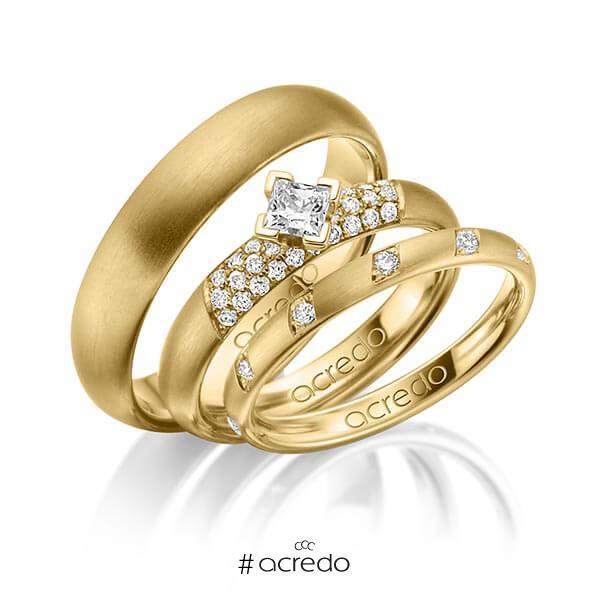 Set in Gelbgold 585 mit zus. 0,74 ct. Brillant & Prinzess-Diamant tw, si von acredo