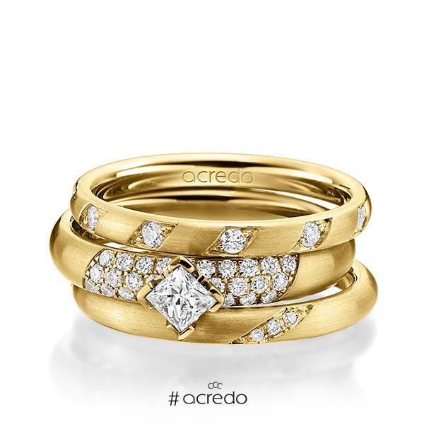 Set in Gelbgold 585 mit zus. 0,755 ct. Brillant & Prinzess-Diamant tw, si von acredo