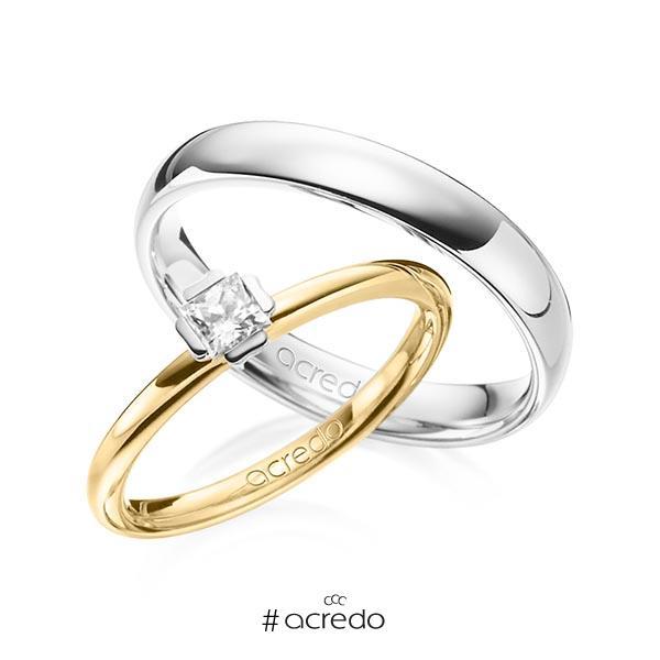 Set in Gelbgold 585 Weißgold 585 mit zus. 0,25 ct. Prinzess-Diamant tw, si von acredo