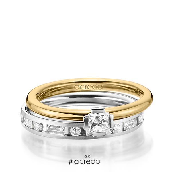 Set in Gelbgold 585 Weißgold 585 mit zus. 1,015 ct. Prinzess-Diamant & Brillant & Baguette-Diamant tw, si tw, vs von acredo
