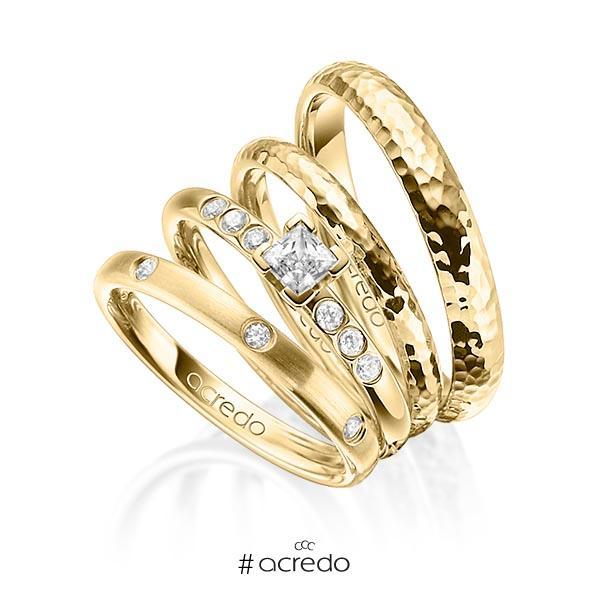 Set in Gelbgold 750 mit 0,4 ct. + zus. 0,26 ct. Brillant & Prinzess-Diamant tw, si tw, vs von acredo