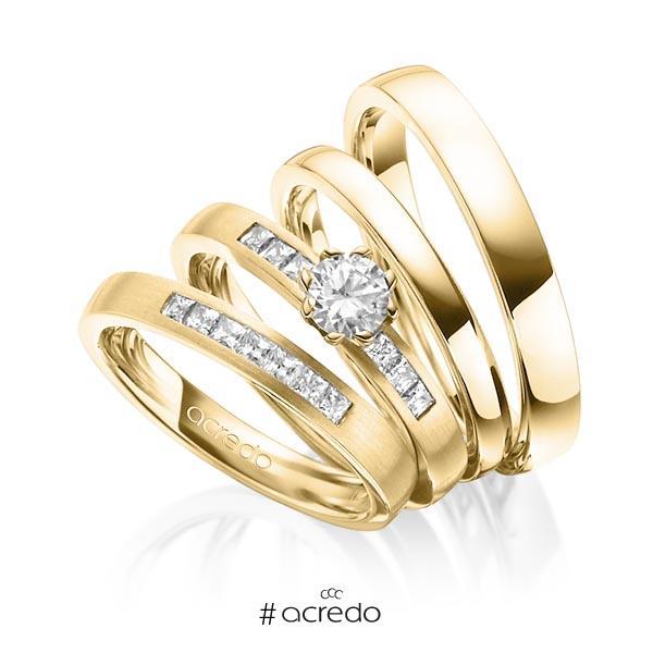 Set in Gelbgold 750 mit 0,4 ct. + zus. 0,39 ct. Prinzess-Diamant & Brillant tw, si tw, vs von acredo