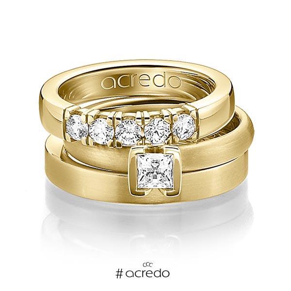 Set in Gelbgold 750 mit 0,4 ct. + zus. 0,3 ct. Brillant & Prinzess-Diamant tw, vs von acredo