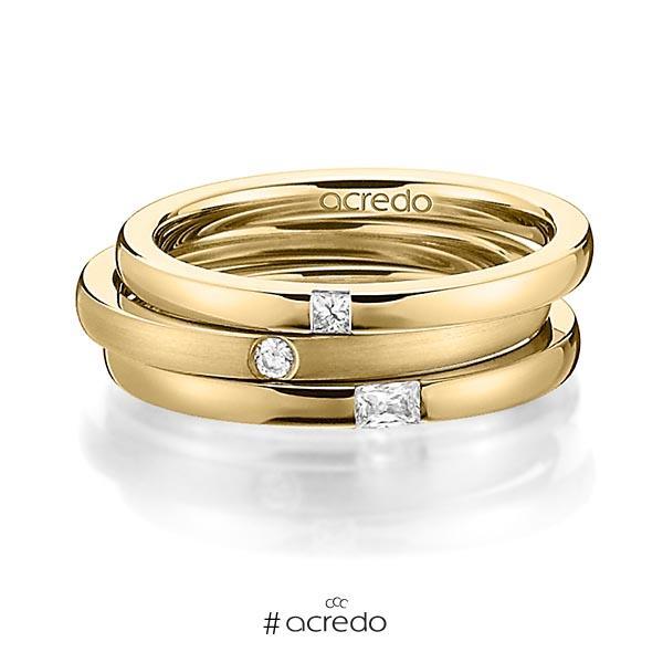 Set in Gelbgold 750 mit zus. 0,125 ct. Prinzess-Diamant & Brillant & Baguette-Diamant tw, si tw, vs von acredo