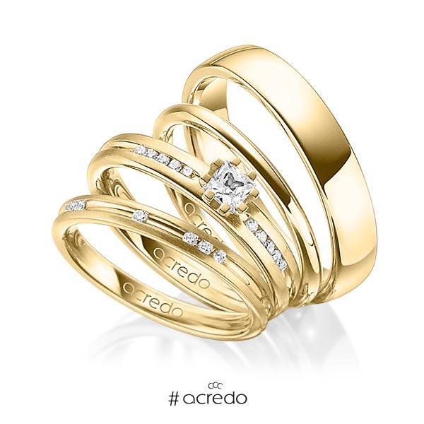 Set in Gelbgold 750 mit zus. 0,47 ct. Brillant & Prinzess-Diamant tw, si von acredo